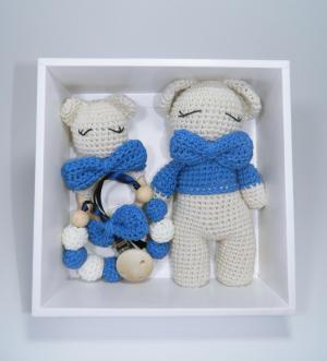 Set cadou jucarii bebelusi, 3 piese crosetate, Albastru