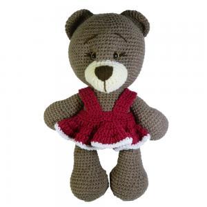 Jucarie crosetata manual, Ursulet cu rochita roz, Umplutura hipoalergenica, 30 cm