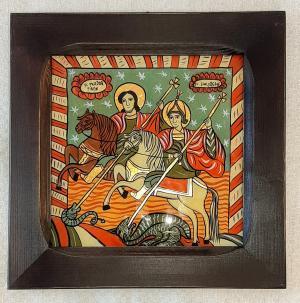 Icoana pe sticla Sf Teodor Tiron si Sf Gheorghe