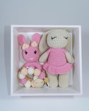Set cadou jucarii bebelusi, 3 piese crosetate, Roz