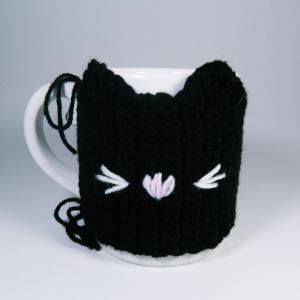 Cana cu hainuta crosetata pisica, negru, 300ml