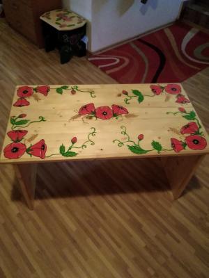 Masă lemn pictată